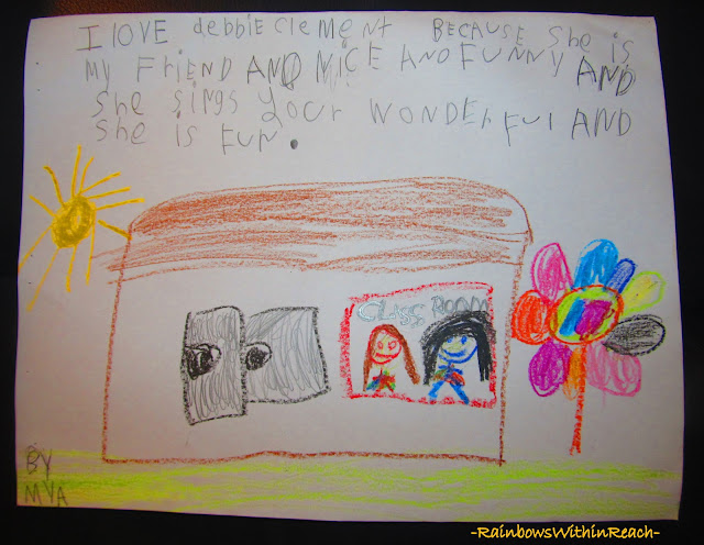 photo of: Child's handwritten thank you following author visit
