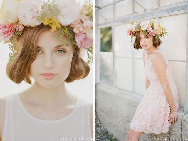 Corona de flores para novia en tonos pastel