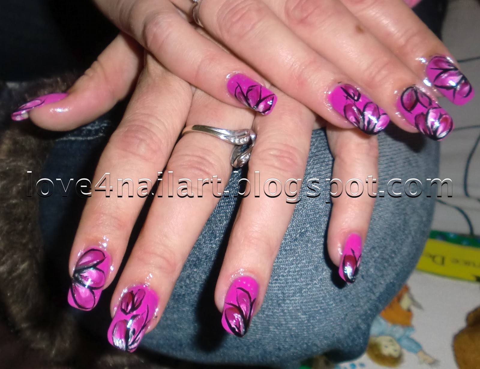 Love4nailart purplepink flower nail art purplepink flower nail art prinsesfo Images