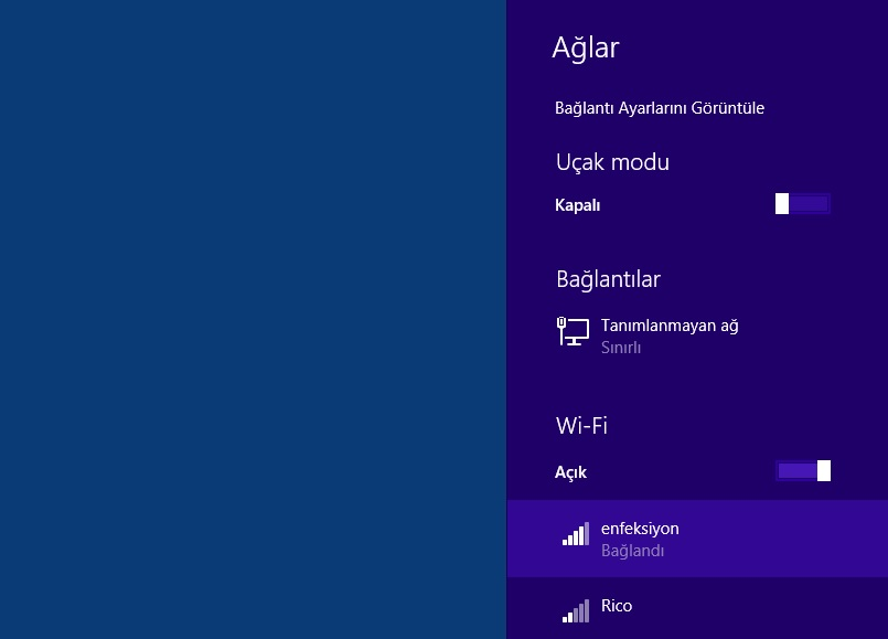 Windows 8.1 Bu ağı unut
