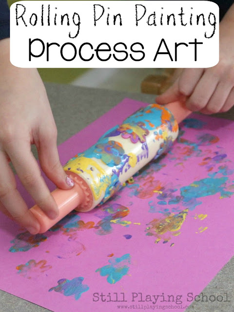 Foam stickers, a rolling pin, and paint create the perfect process art invitation for kids! I love how this art station is set up and provides lots of fine motor work!
