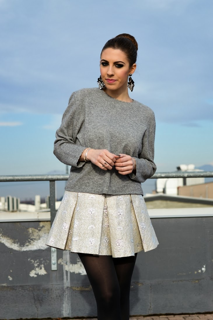 idee outfit come vestirsi a capodanno 2013 new year eve outfit ideas what to wear on new year eve argento silver sparkling pinko skirt zign black boots calzedonia tights