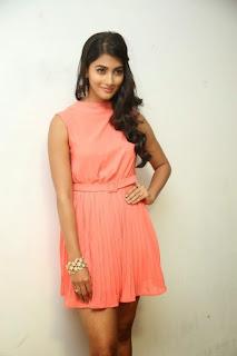 Actress Pooja Hegde Pictures in Short Dress at Oka Laila Kosam Prerelease Press Meet  23)