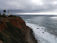 Lighthouse at Point Vicente, Catalina Island across the water