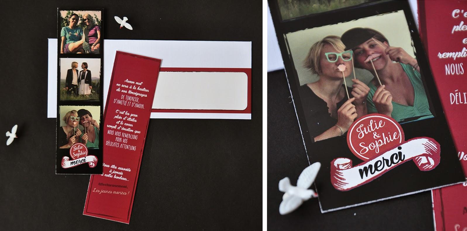 faire part remerciement mariage photomaton magnet et carton 300gr avec enveloppe longue et tiquette pour adresse assortie - Faire Part Photomaton Mariage