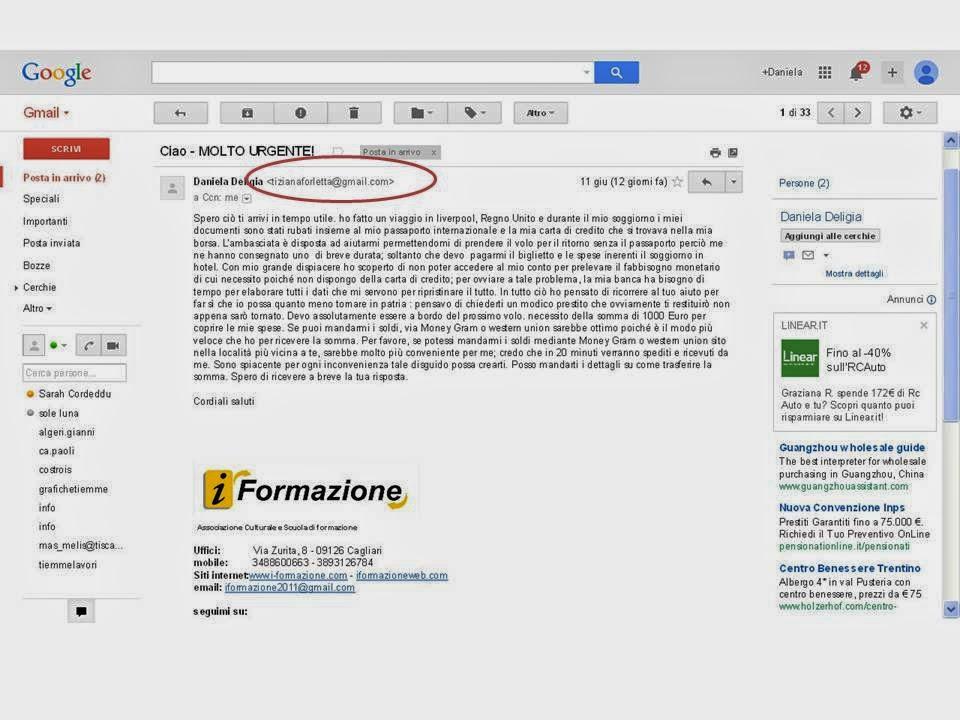 Come puoi notare l'indirizzo email del mitente è diverso dall'indirizzo reale... in questa foto puoi vederlo cerchiato in rosso