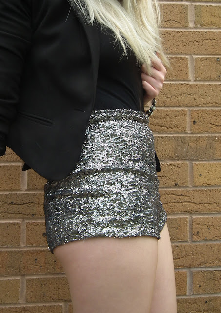 Sammi Jackson - Topshop silver sequin knicker shorts