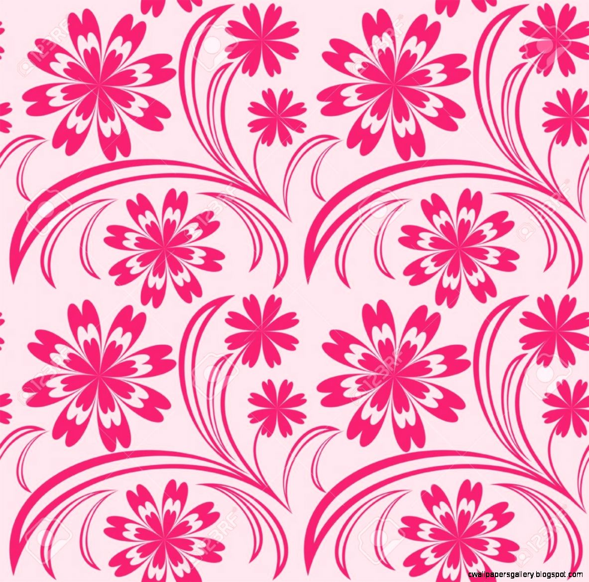 Pink Fl Seamless Wallpaper Royalty Free Cliparts Vectors
