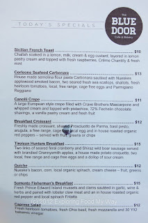Blue Door Cafe's Specials Menu for Saturday