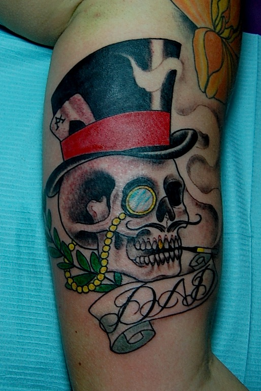skull and top hat tattoo by joseph haefs. Black Bedroom Furniture Sets. Home Design Ideas