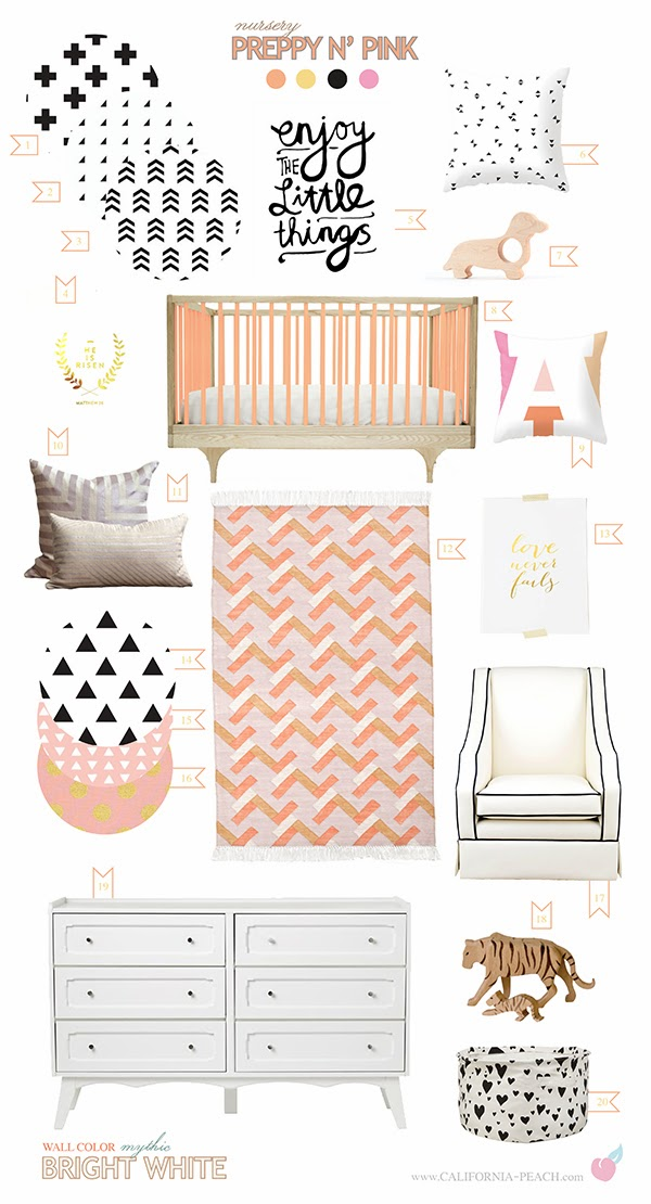 Preppy N' Pink || on California Peach || Nursery Baby Room Interior Design Style Board