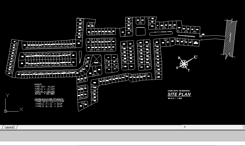 AUTO CAD SITE PLAN PERUMAHAN (DWG FILE)
