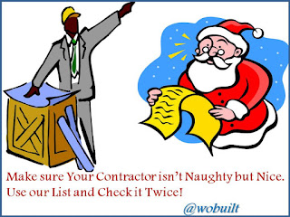 Make sure Your Contractor isn't Naughty but Nice.  Use our List and Check it Twice!, collage by wobuilt.com