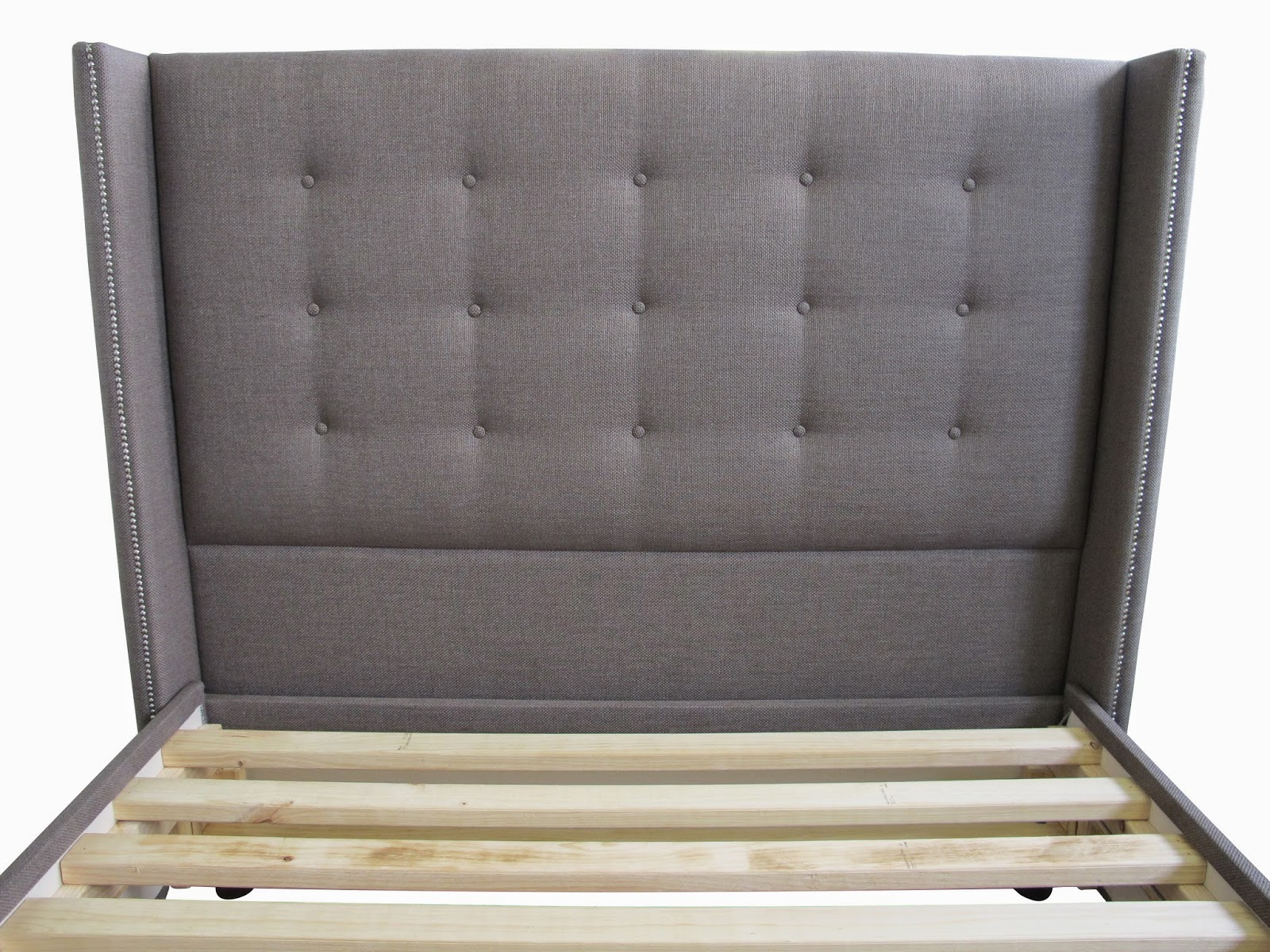 The wingback upholstered headboard is a luxurious and elegant bedhead design custom made and upholstered in any fabric. Made to order at Bedhead Design Sydney