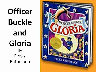 Book cover with Gloria, the dog, flipping and officer Buckle watching with an audience.