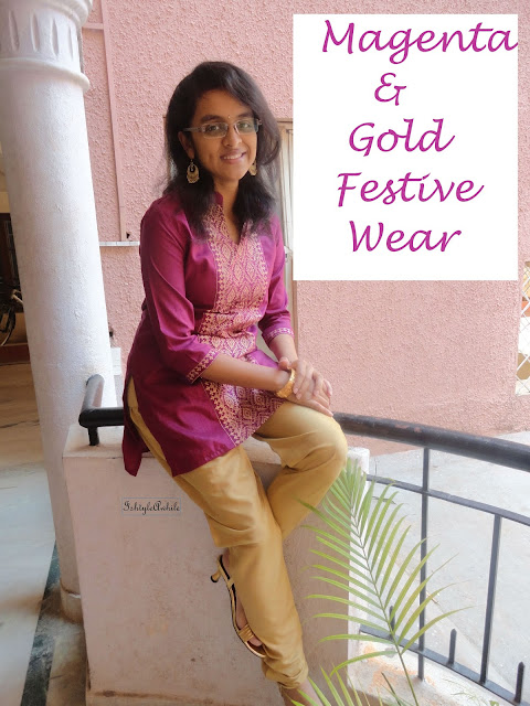 OOTD: Magenta and Gold Kurti image