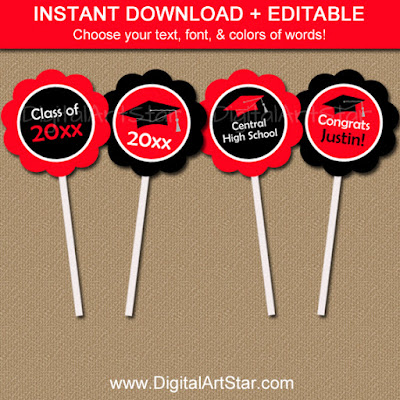 red & black cupcake toppers with editable text