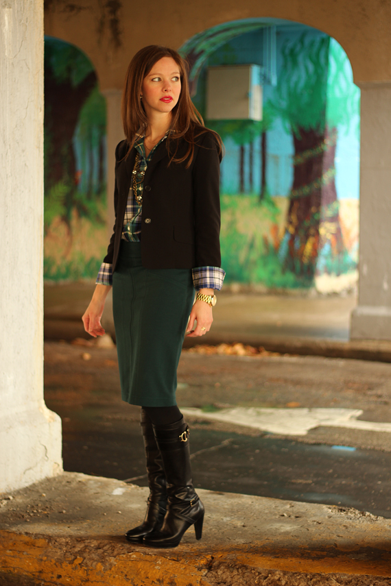 StyleSidebar - Green &amp; Blue Paid, Black blazer, high boots
