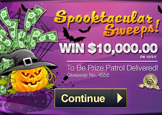 First Spooktacular Sweeps at PCH screen featuring a jack o' lantern wearing a witch's pointy hat