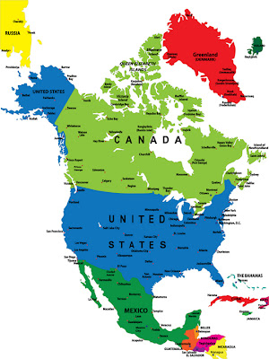 North America Map Region City