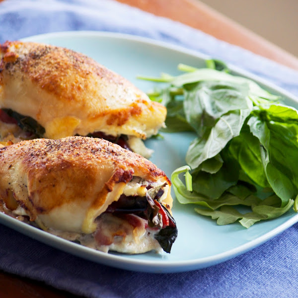 Basil Bacon Cream Cheese Stuffed Chicken Breasts