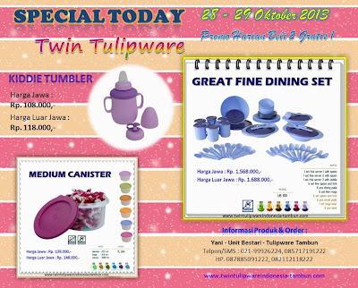 Promo Tulipware 2013, Kiddie tumbler, Medium Canister, Grat Fine Dining