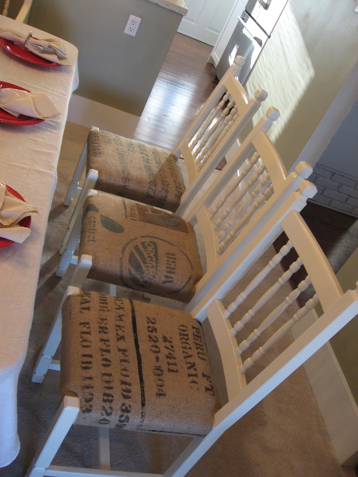 Heather S Creations Dining Chairs Upholstered With Burlap