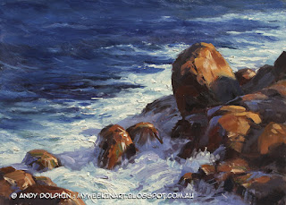 Lowlands Beach rocks, near Albany, WA. Edited plein air oil painting seascape by Andy Dolphin.