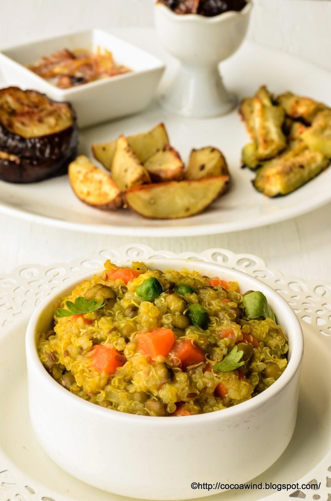 Quinoa-Green Moong Daal Khichdi & Baked Veggies