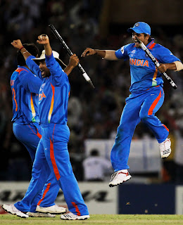 Sachin Tendulkar, Suresh Raina and Munaf Patel celebrate their victory over Pakistan in semi-final, India vs Pakistan, 2nd Semi-Final, ICC World Cup 2011, Mohali, March 30, 2011