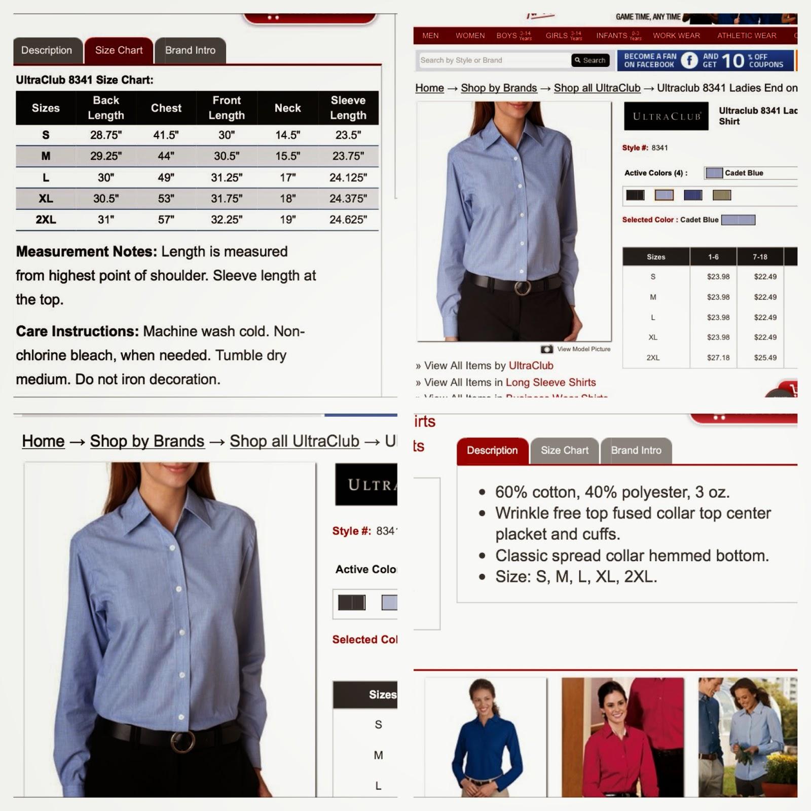 cadet blue dress shirt by ultra club,size chart for women shirts, shirt colors, shirt length,