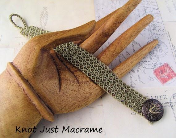 Beaded macrame bracelet with dragon button closure.