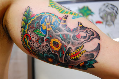 Mexican Triceratops Body Ink Art