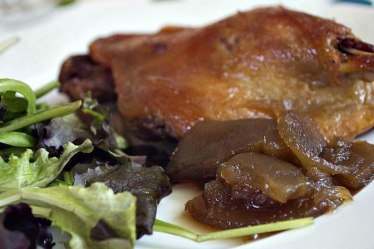receta de confit de pato con manzanas