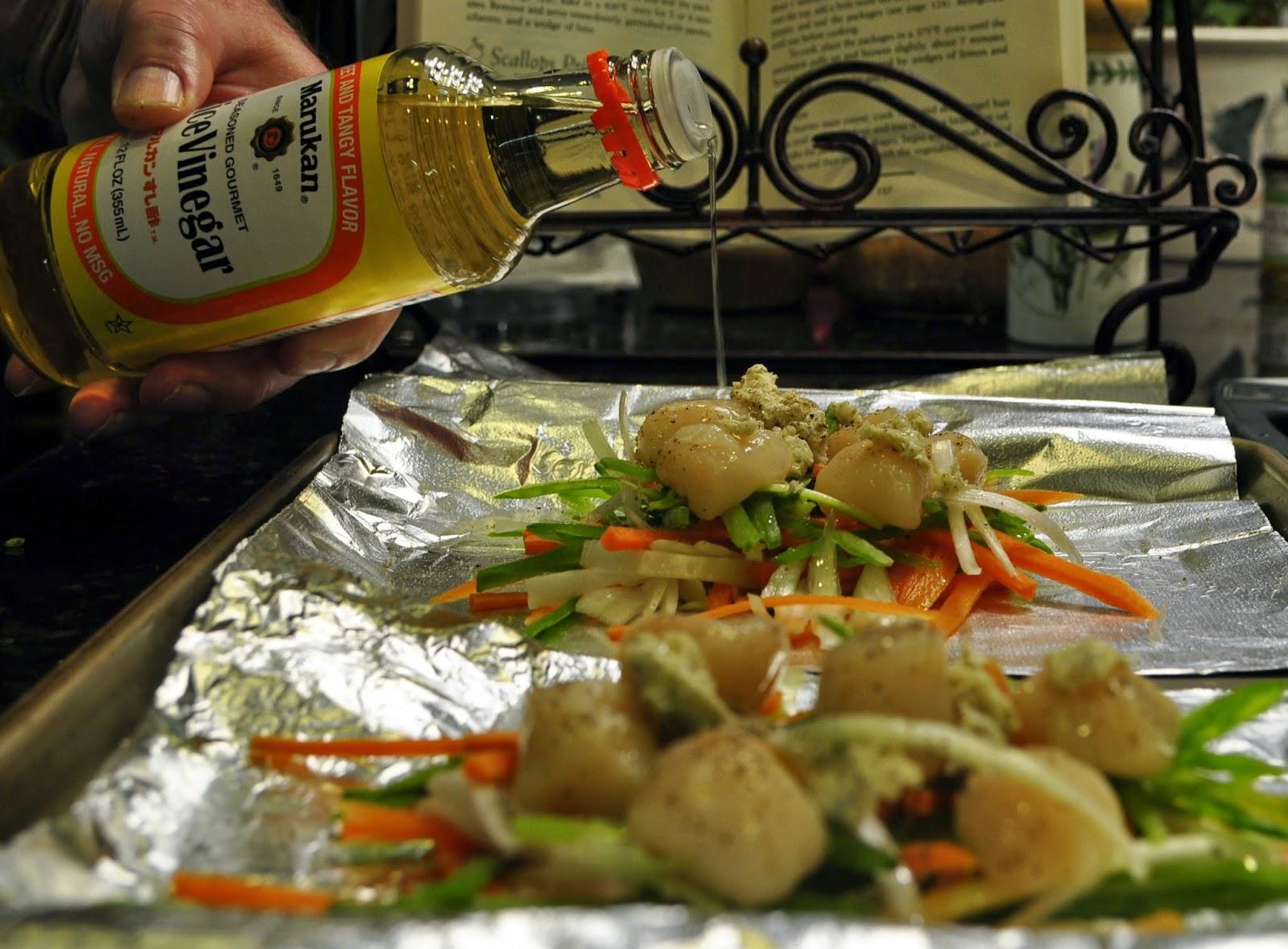 Marukan Rice Vinegar: Scallops en Papillote over Fettuccine - Create Amazing Meals