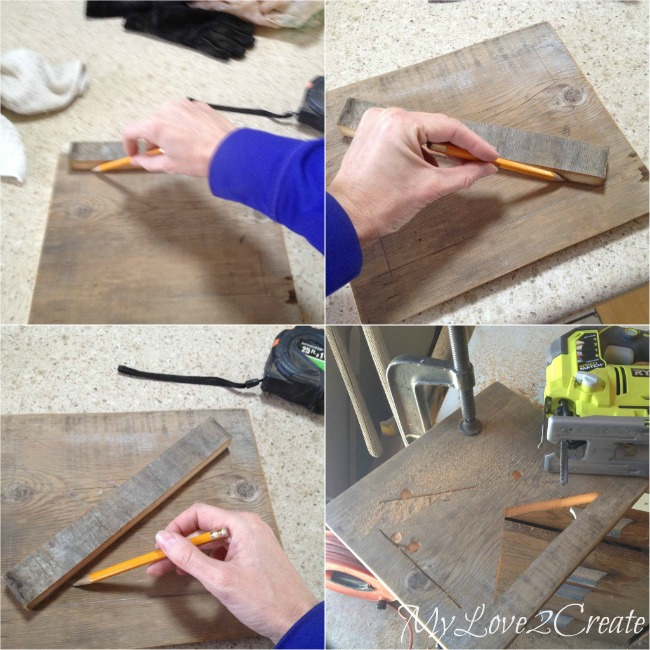 cutting chair back x pattern with jig saw