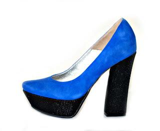 foto pantofi albastri cu platforma si toc gros