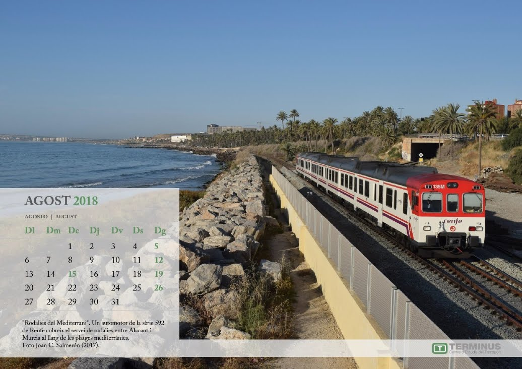 Calendari Ferroviari - JUlLIOL 2018