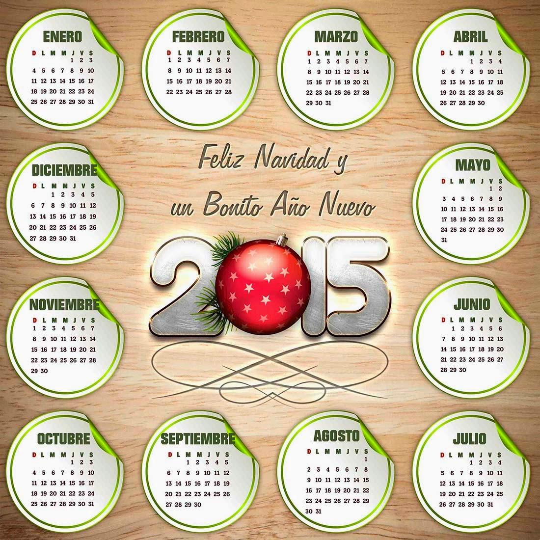 Tabla de madera con etiquetas para calendario 2015