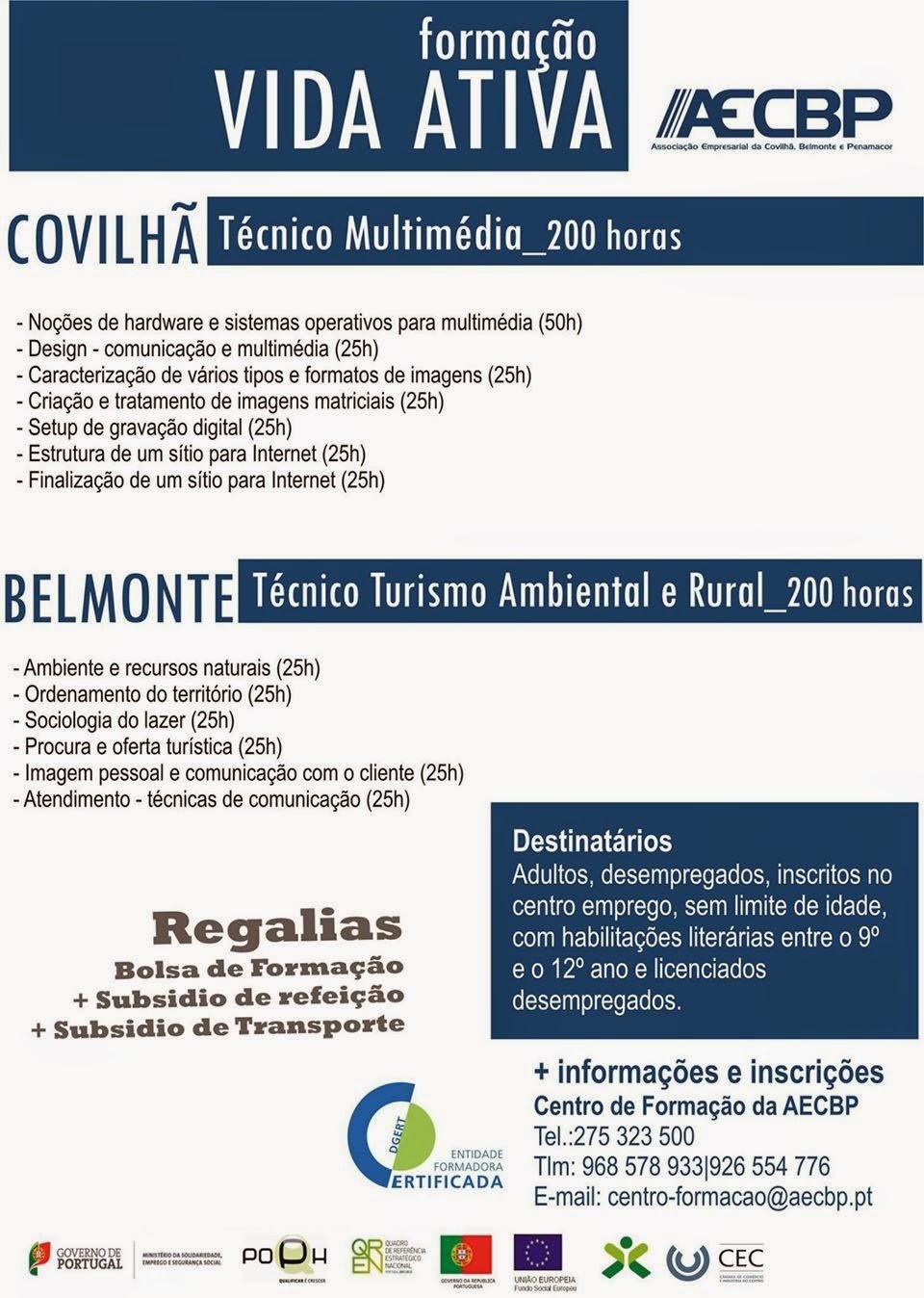 Cursos financiados para desempregados (Vida Ativa) – Covilhã e Belmonte