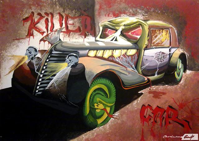 gouache-killer-car-dibujo-y-pintura