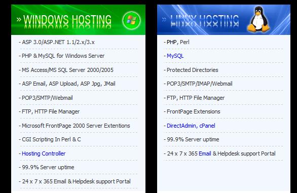 thông số kỹ thuật web hosting