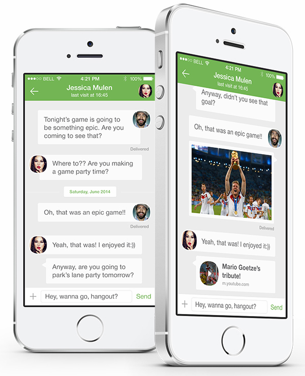 A redesign WhatsApp version for iOS 8: Lots of green, and looks pretty nice!