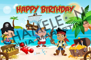 Jake the PirateThemed Birthday Banner and Invitations with child photo