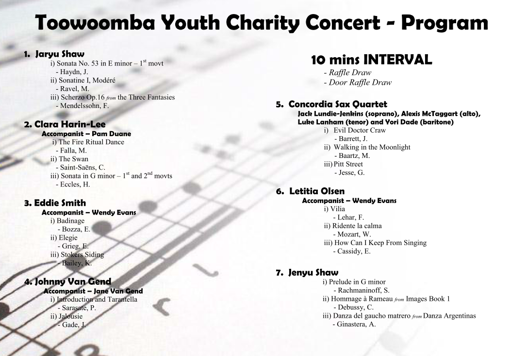Toowoomba Youth Charity Concert 2012 Charity Concert Program – Concert Program