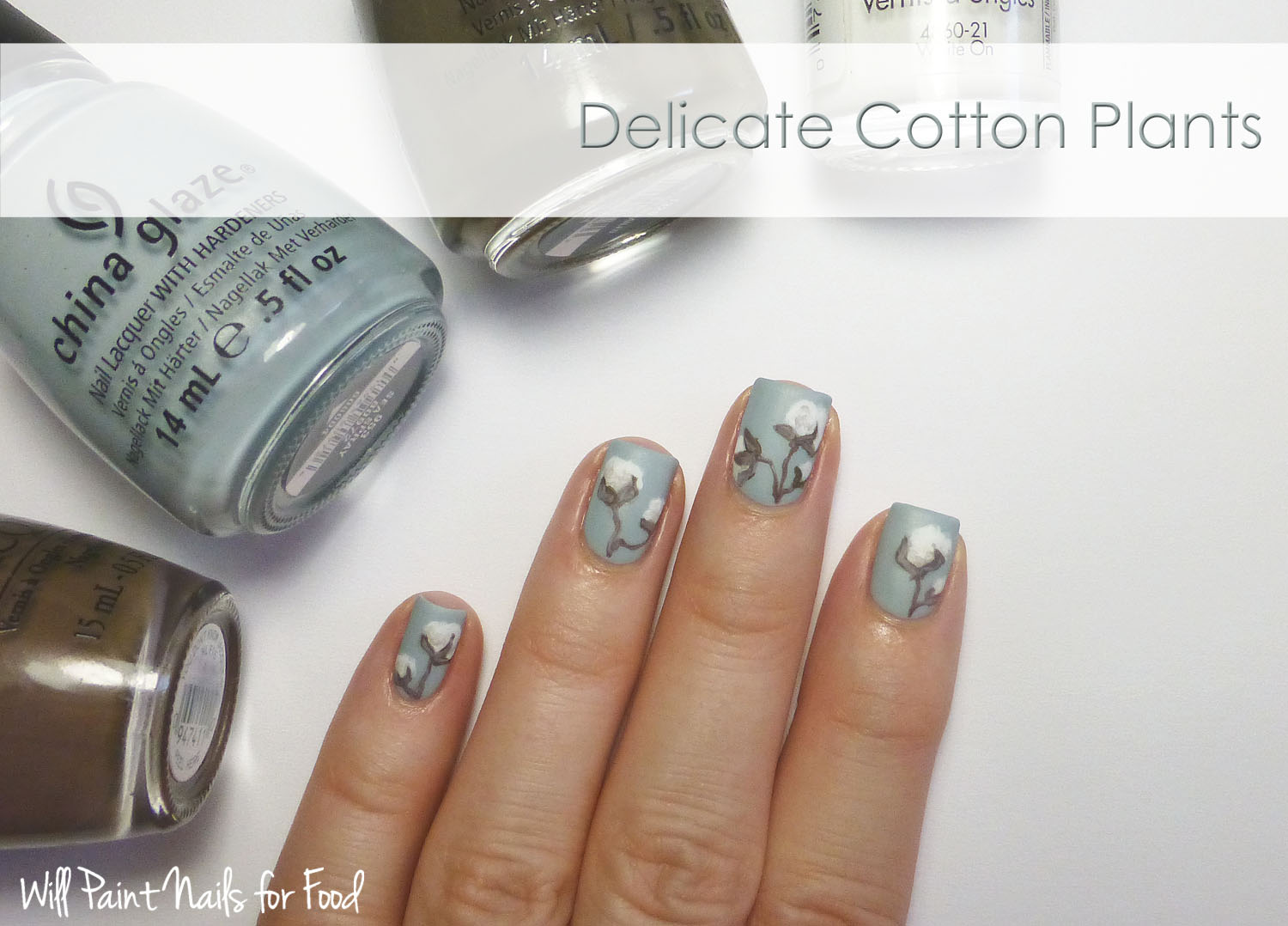 Delicate cotton plants nail art