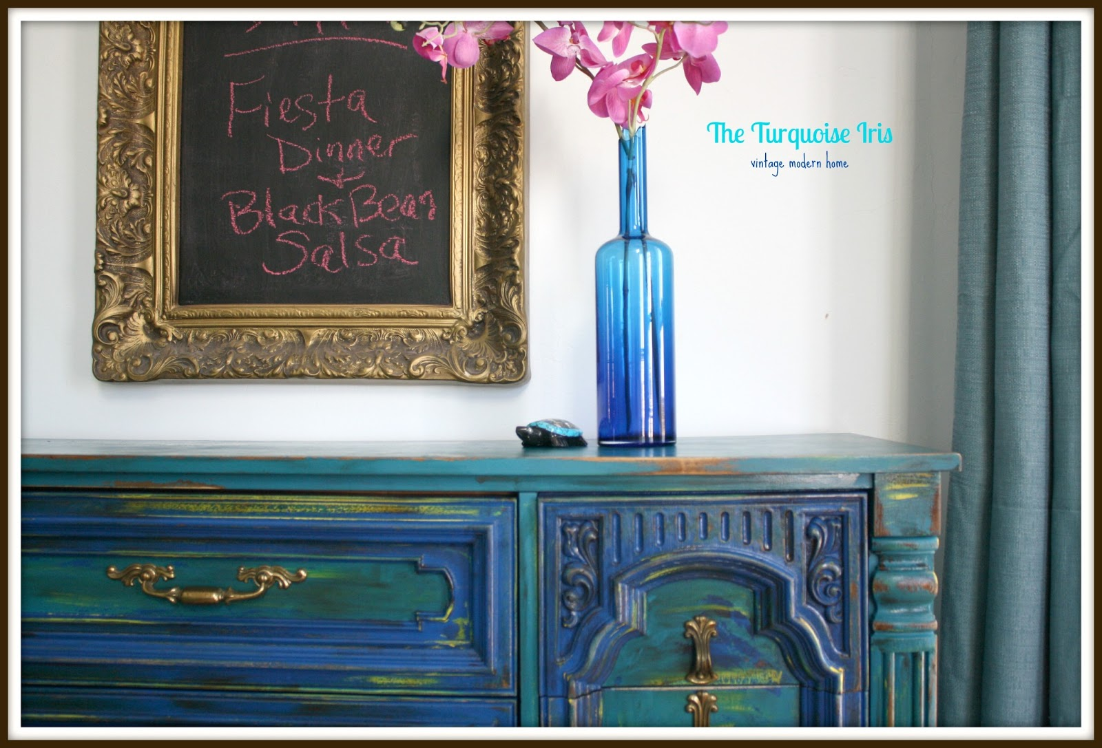 Teal and cobalt blue distressed dresser buffet