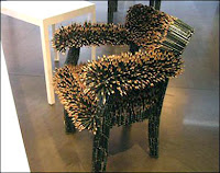 super comfortable pencil chair made out of pencils spiky uncomfortable