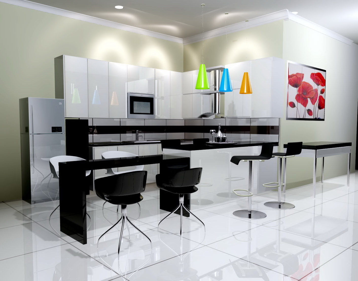 Idesign arsitektur pantry hitam putih for Kitchen set hitam putih