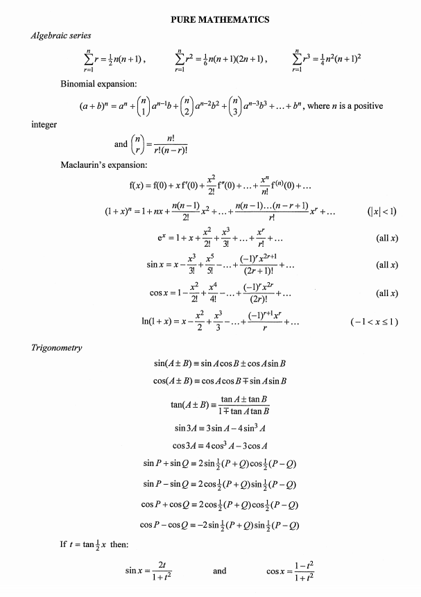 list of integration formulas pdf